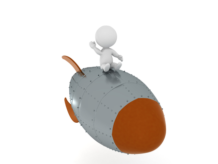 3D Character flying on retro looking rocket and waving his hand. This image can be interprited  in any way the viewer decides to.