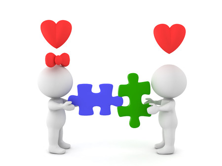 compatibility: 3D Illustration depictiing a compatible romantic couple. This compatibilty is illustrated by two puzzle pieces which fit.