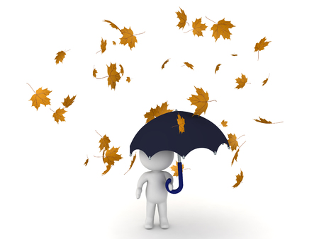 3D Character standing in blowing autumn leaves while holding umbrella in his left hand.