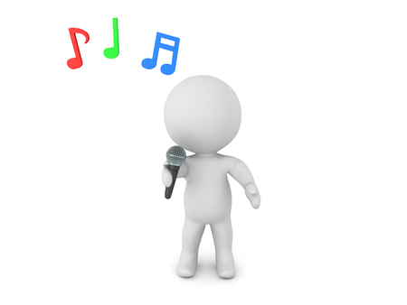 3D Character singing karaoke into a mic. Musical notes are floating above his head. Stock Photo