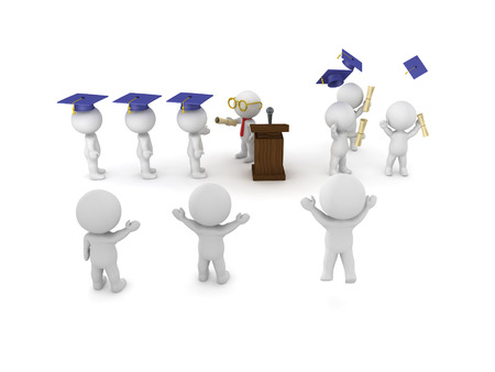 3D illustration of graduation ceremony with student receiving diploma from teacher  and people cheering them.