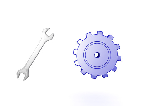 3D Illustration of wrench and gear. Iamge is depicting something that is working.