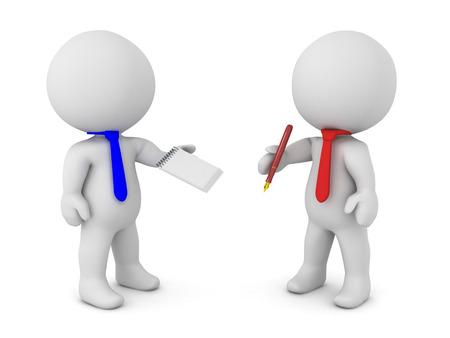 Twee 3D-personages komen naar een geschreven overeenkomst. Een van hen houdt een pen vast terwijl de andere een papier vasthoudt. Stockfoto