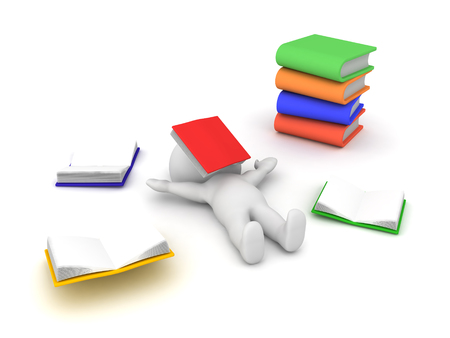 3D Character exhausted from having to study too much. This image depicts how students in certain countries are overworked. Stock Photo