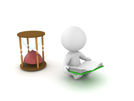 3D illustration depicting how time flies when you read a good book. This concept is conveyed by the fact that there is an empty hourglass behind the character.