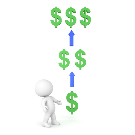 3D Character looking at multiplying money. Image depicting investing or owning a share or receiving intrest. Stock Photo