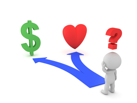 3D Character shown two choices - Love or Career. Image depicting a modern dilema, should one choose relationships or  career.