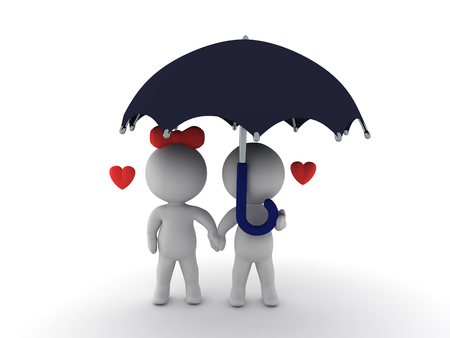 hard rain: 3D illustration of in love couple sitting together under an umbrella. Image depicting happy couple