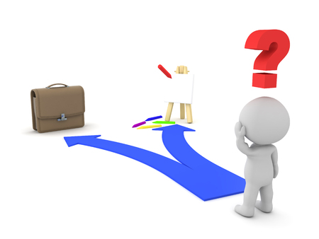 pursuing: 3D Character shown two choices - Passion dream or Job Career. This image depicts the modern dilema of either pursuing your dreams or having a job.