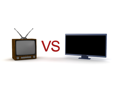 3D illustration of old retro cathode ray tube television and new led lcd HDTV. Theyre pitted against each other.