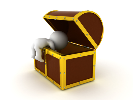 3D Character searching in a treasure chest. The chest is big with golden edges.