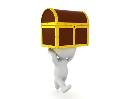 finds: 3D Character running with treasure chest held above him. Image depicting how one finds a treasure
