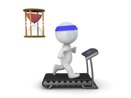 chronology: 3D Character running on treadmill with hourglass next to him. Image depicting the duration of a workout.