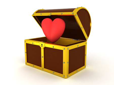 3D Illustration of cartoon heart inside of treasure chest. The chest is shiny with golden outlines.