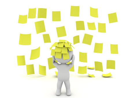 3D Character sitting in a rain of yellow post it sticky notes. With many sticky notes stuck to his head.