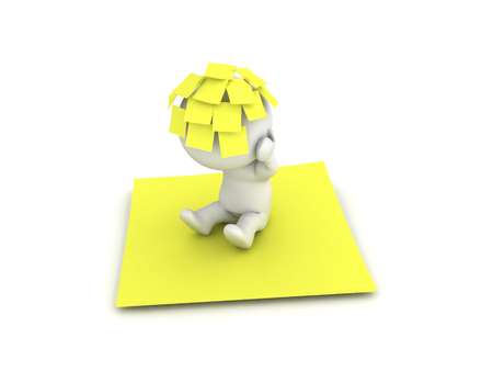 3D Character with many yellow post it sticky notes on his head sitting on a big yellow note. This image depicts the concept of being overwhelmed with tasks.