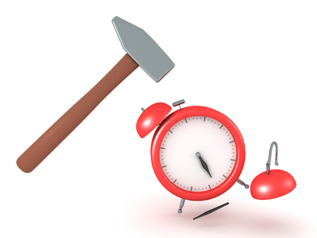 3D Illustration of hammer smashing alarm clock. The clock is dismembered.