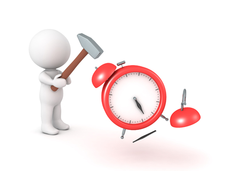 3D Character smashing alarm clock with hammer. The click is getting destroyed.