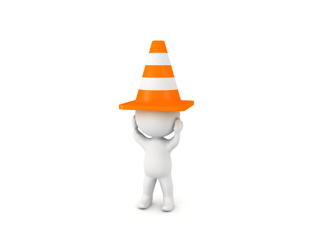 3D Character with traffic cone on his head. He is feeling stressed.  Reklamní fotografie