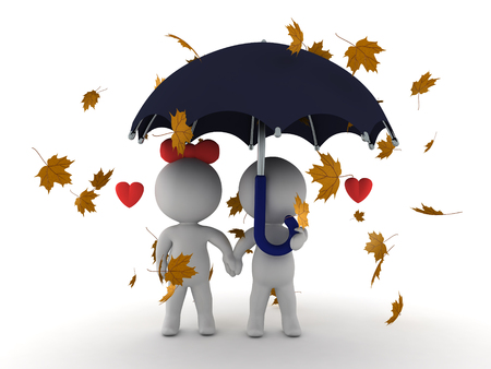 3D illustration of in love couple sitting together under an umbrella with autumn yellow leaves falling around them.