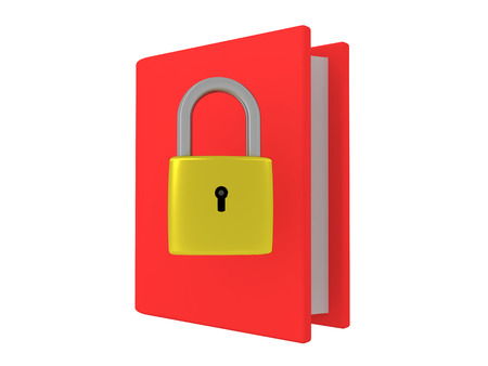 3D illustration of a book with a pad lock on it. This image depicts the concept of hidden knowledge.