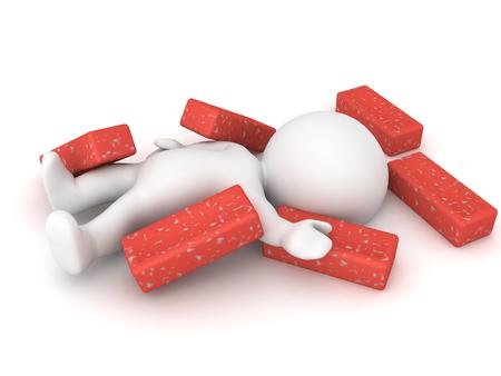3D-personage is gewond en vastgelopen onder puinstenen. Afbeelding met aan de constructie gerelateerd ongeval.