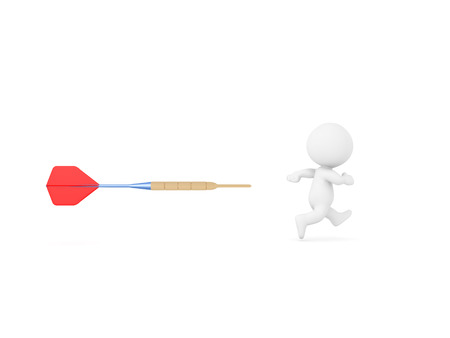 3D Character being chased by dart. The character is running away from a red dart. Stock Photo