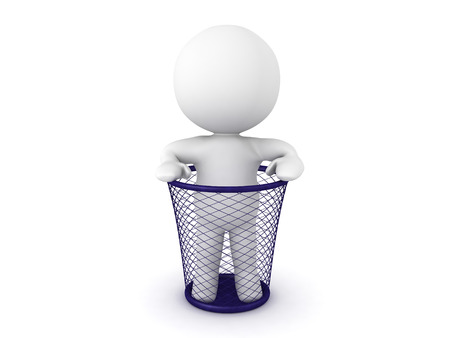 3D Character standing in a garbage basket. The basket is made of mesh. Stock Photo