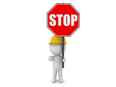 circumvent: 3D Character wearing hard hat holding a stop sign. The character is re-routing trafic. Stock Photo
