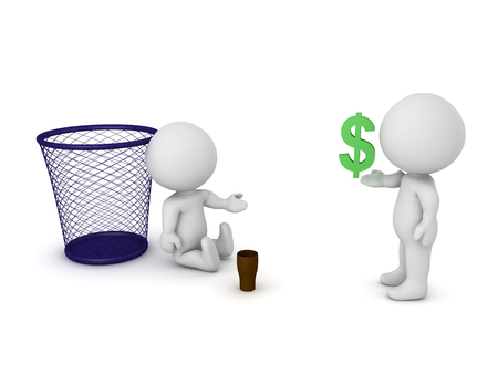begging: 3D Character giving money to homeless person. Image depicting poverty.
