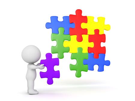 3D 캐릭터 지 그 소 퍼즐에 퍼즐 조각을 배치합니다. 조각은 다른 조각들과 잘 맞습니다. 스톡 콘텐츠