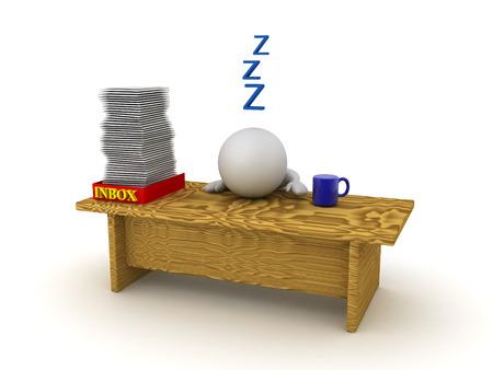 Il personaggio 3D dorme sulla sua scrivania perché è oberato di lavoro. Immagine raffigurante lunghe ore di lavoro o maniaco del lavoro. Archivio Fotografico - 76663045