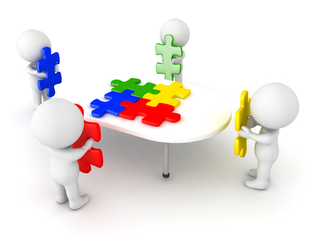 3D Illustration of four characters putting puzzle pieces on table. The pieces are matching and colorful. Stock Photo