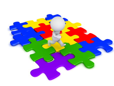 3D Character running on connected  jigsaw puzzle pieces. They are multi colored. Stock Photo
