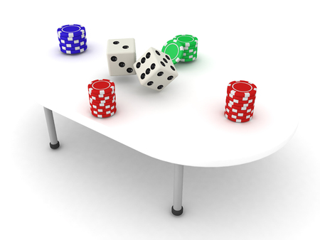 adrenaline rush: 3D Illustration of a gambling table with stacks of chips and dices. There are chip stacks in each four corners.