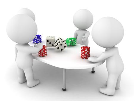 socializando: Personajes 3D jugando un juego de azar. Hay fichas y dados en la mesa. Foto de archivo