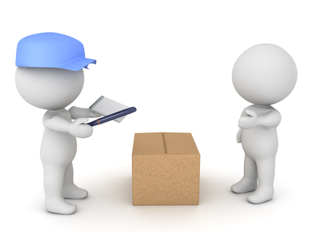 3D illustration of delivery man bringing package to a person. He needs the customers signature.