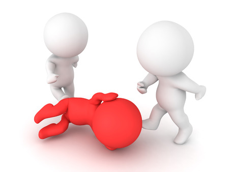 3D illustration of a person sitting in the fetal position while being attacked. The attackers are kicking the victim. Stock Photo