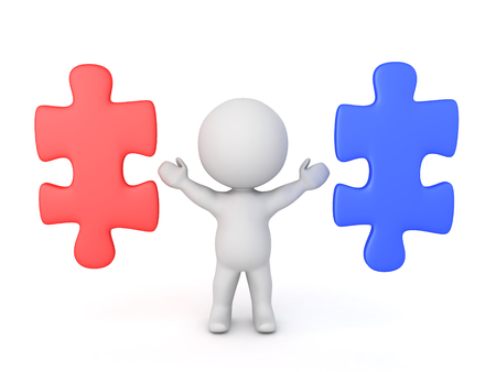 3D Character with two puzzle pieces next to him, one red, another blue. Image conveying the concept of choice.