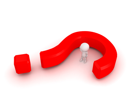 reveal: 3D Character with a question mark wrapped around him. Image can depict confusion or the desire for inquiry.