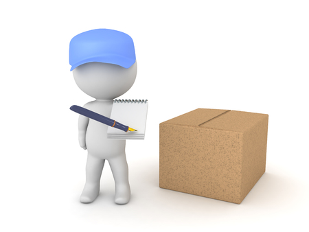 3D illustration of deliverman with package asking for a signature. He is holding a pen and paper aimed towards the camera. Stok Fotoğraf