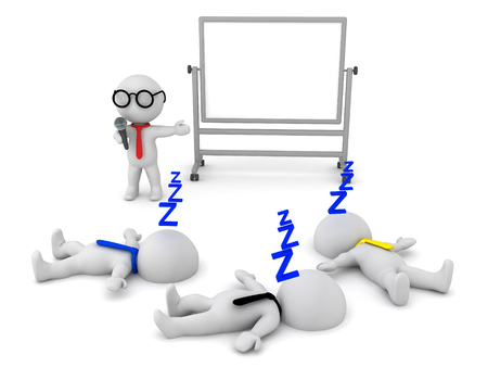 ineffective: 3D illustration of a boring presentation which puts people to sleep. Image depicting poor communication skills. Stock Photo