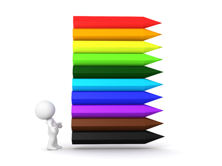 coordinated: 3D Character looking up at rainbow colored crayons. This image is colorful.