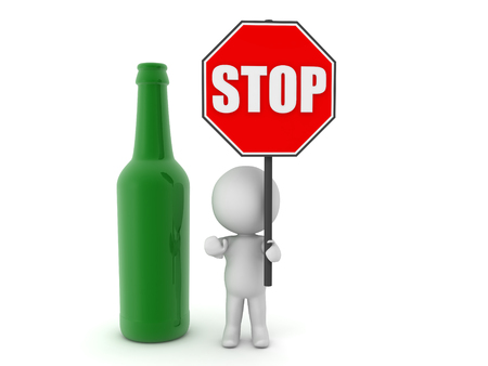 drunk driving: 3D Character holding red stop sign next to beer bottle. This could be used in a campaign against alcoholism.