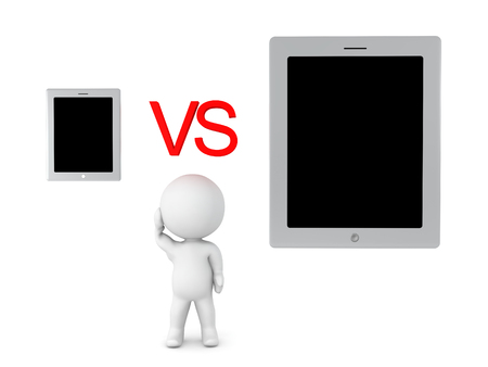 3D Character cant choose between phone or tablet. Image depicting first world problem.