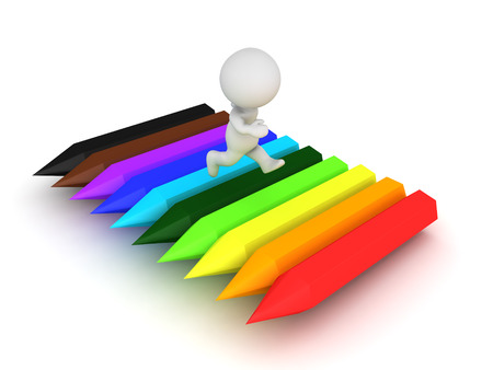 coordinated: 3D Character running on top of rainbow colored crayons. A image that conveys fun and creativity.