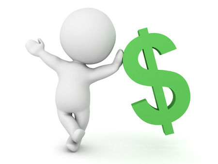 0283 3D Character leaning on dollar symbol. The image is cute and cool.