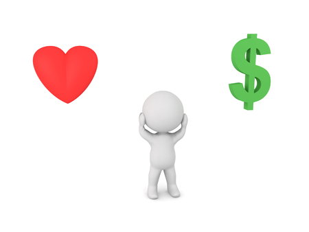to compromise: Stressed 3D Character cant choose between career and relationship. The heart symbolizes the realtionship while the dollar symbol the career. Stock Photo
