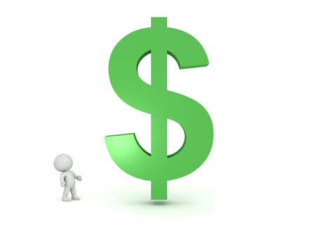 3D Character looking up at giant dollar symbol. Image can relate to any financial situation. Stock Photo