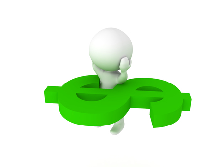 3D Character stuck in giant green dollar symbol. Image could depict any sort of a financial problem